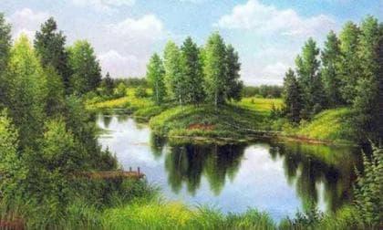 Відображення  річки DM-033 Алмазна мозаїка