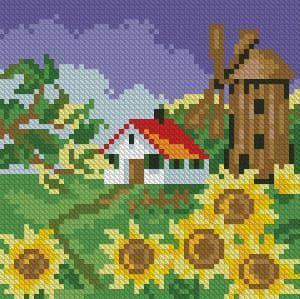 Соняшники біля млина DM-036 Алмазна мозаїка