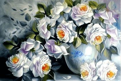 Білі троянди DM-046 Алмазна мозаїка