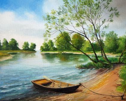Човен біля берега DM-069 Алмазна мозаїка