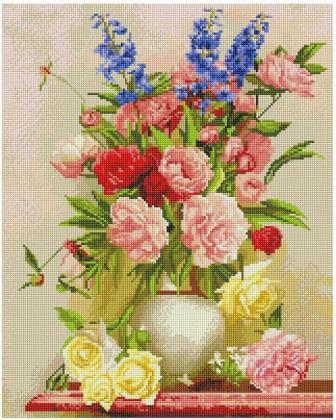 Красивий букет у вазі SP090 Алмазна мозаїка IF