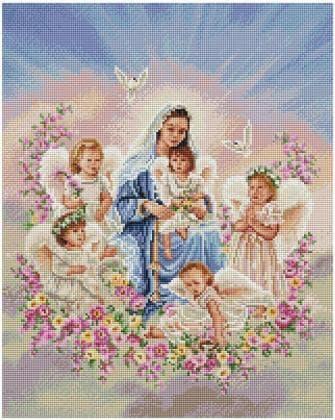 Діва Марія з ангелами SP091 Алмазна мозаїка IF