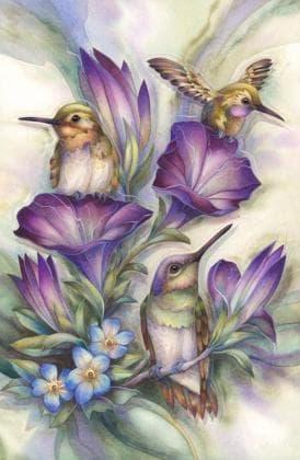 Пташки в квітах DM-114 Алмазна мозаїка