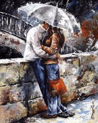 Закохані під дощем DM-133 Алмазна мозаїка