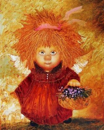 Ангел з кошичком квітів