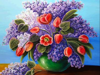 Тюльпани і бузок DM-204 Алмазна мозаїка