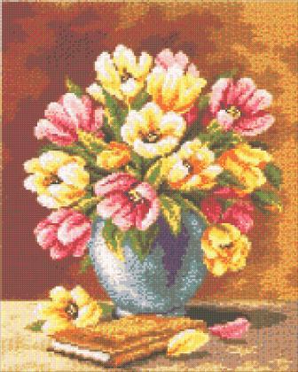 Ваза з тюльпанами DM-207 Алмазна мозаїка