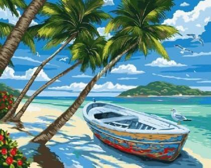 Пляж з пальмами DM-212 Алмазна мозаїка
