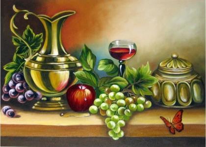 Бокал вина і фрукти DM-230 Алмазна мозаїка