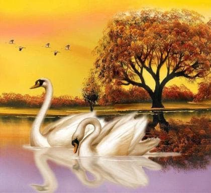 Лебеді на ставку DM-259 Алмазна мозаїка