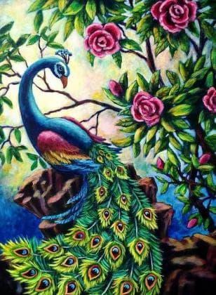 Павлін в квітах DM-298 Алмазна мозаїка