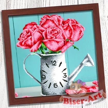 Годинник Ваза з трояндами 005 Biser-Art