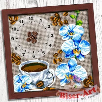 Годинник Кава з орхідеями 012 Biser-Art