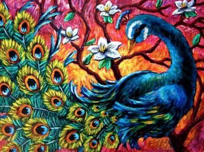Барвистий павлін DM-303 Алмазна мозаїка