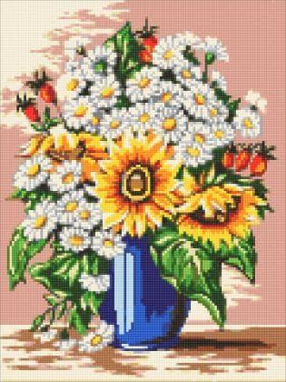 Букет ромашок і соняшників DM-306 Алмазна мозаїка
