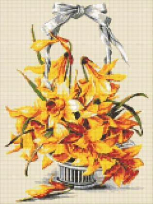 Жовті нарциси DM-316 Алмазна мозаїка