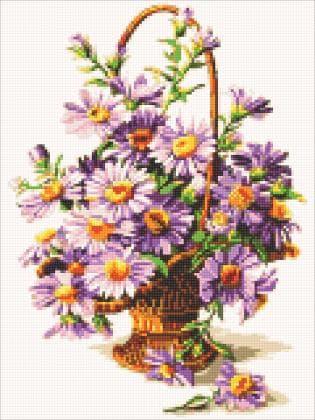 Фіолетові астри DM-319 Алмазна мозаїка