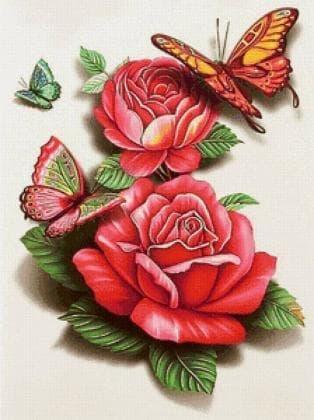 Метелик на троянді DM-327 Алмазна мозаїка