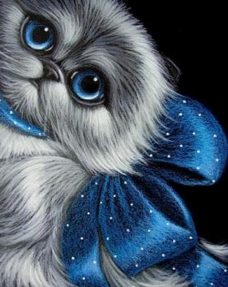 Кошеня з синім бантом DM-341 Алмазна мозаїка