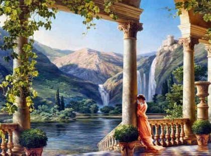 Дівчина біля водоспаду DM-352 Алмазна мозаїка