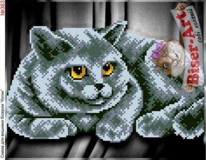 Сірий кіт 363 Biser-Art