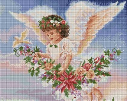 Ангел у квітах SP036 Алмазна мозаїка IF
