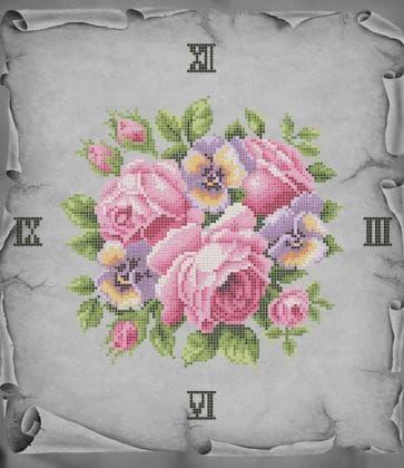 Годинник з трояндами ЧВ-5335 Бісерок