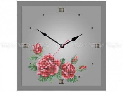 Годинник з трояндами ЧВ-5372 С Бісерок