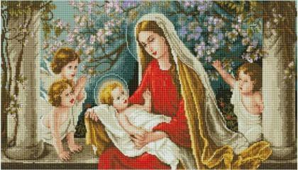 Діва Марія з Ісусом в яблуневому саду SS803 Алмазна мозаїка IF