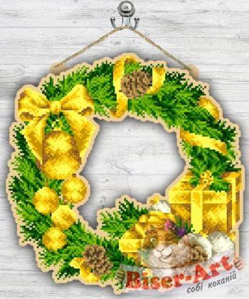 Вінок новорічний в золоті 93040537 Biser-Art