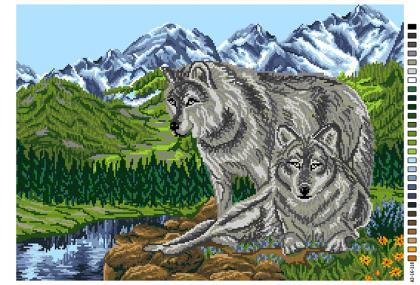 Пара вовків А3-16-118 Вишиванка