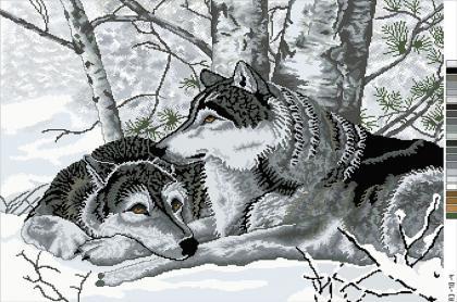 Пара вовків А3-18-004 Вишиванка