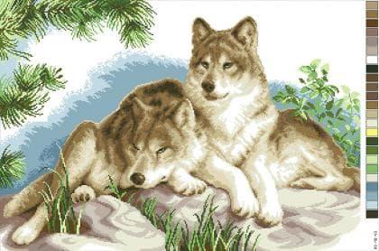 Пара вовків А3-18-043 Вишиванка