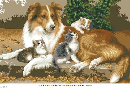 Собака з котами А3-18-071 Вишиванка