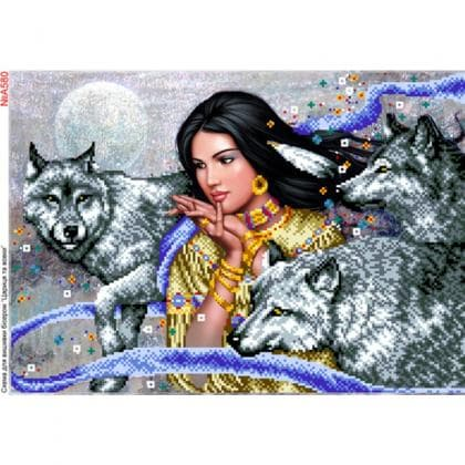 Дівчина з вовками А580 Biser-Art
