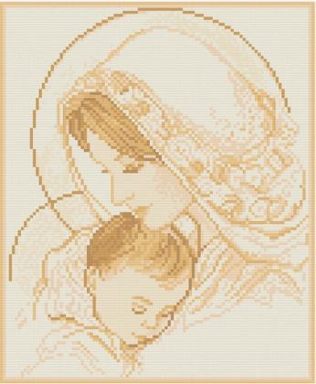 Мадонна і дитя (сепія) АМП-002 Алмазна мозаїка IF