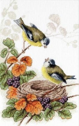 Пташки біля гнізда