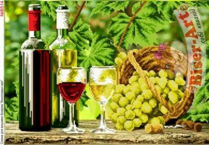 Натюрморт з вином і виноградом  В514 Biser-Art