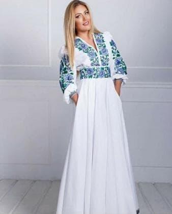 Заготовка для плаття з поясом ПЖ Борщівські мотиви 19 блакит 2,2 м Гармонія