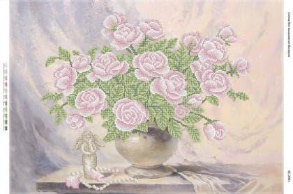 """Натюрморт """"Рожеві троянди""""(част. виш.) БС-2061 Сяйво БСР"""