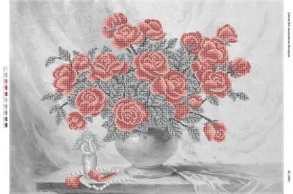 """Натюрморт """" Троянди у вазі""""(част. виш.) БС-2062 Сяйво БСР"""