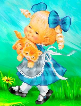 Дівчинка і кошеня ЧВ-3192 Бісерок