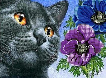 Кіт з анемонами ЧВ-3460 Бісерок