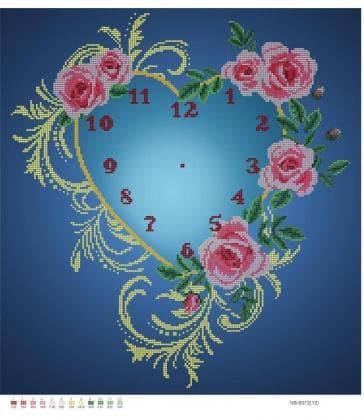 Годинник  серце з троянд ЧВ-6072 Бісерок