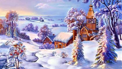 Зимовий пейзаж DM-380 Алмазна мозаїка