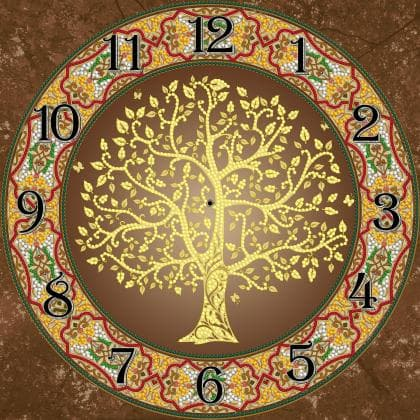 Годинник Мандала з золотим деревом
