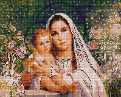 Діва Марія з Ісусиком SP011 Алмазна мозаїка IF