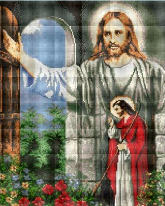 Ісус стукає в двері SP031 Алмазна мозаїка IF