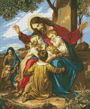 Ісус та діти SP027 Алмазна мозаїка IF