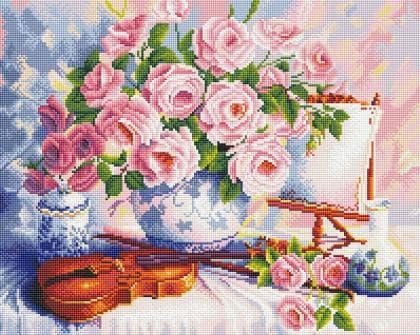 Троянди і скрипка SP050 Алмазна мозаїка IF